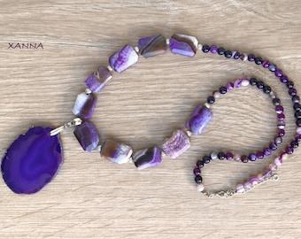 Necklace SRAN II /semiprecious stones/agata lila/lilat agate pendant/boho chic, elegant and casual