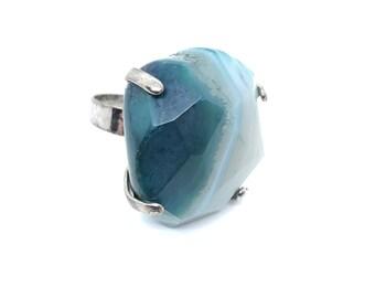 XANNA RING 1 /semi-precious stones/blue-turquoise agate