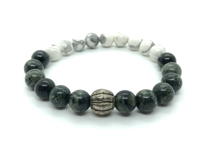 KARA/piedras semi-precious bracelet/rhyolite Green & Howlite white/boho chic elegant Casual