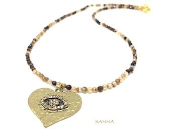 IVETTE 09 choker necklace /semiprecious stones/agate/golden heart eye/Boho chic elegant