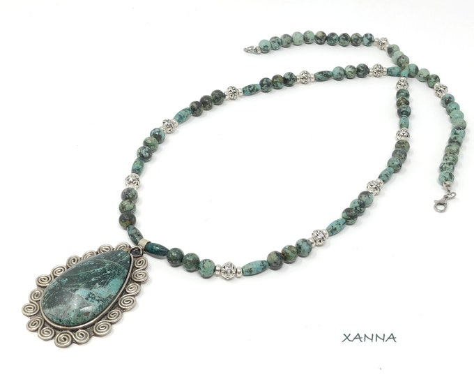 Necklace KASSIAN/piedras Semi-precious/African turquoise/chrysocolla pendant/Boho chic casual Elegant