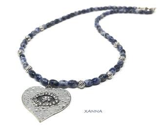 IVETTE 06 choker necklace /semiprecious stones/sodalita/silver heart eye pendant/boho chic, elegant and casual
