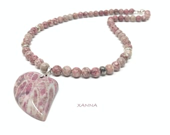CORR FOSSIL /semi-precious stones/coral agate necklace and sterling silver/hanging heart coral agate fossil/boho chic elegant