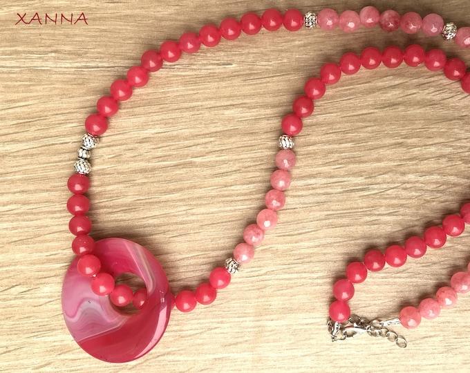 Necklace ROSEBUSH/piedras Semi-precious/agate pink/Pink agate hoop pendant/boho chic, elegant and casual