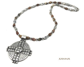 CROIX Necklace /Semiprecious Stones/Jaspe/Ethnic Cross Pendant of Zamak /Boho Chic Elegant Casual