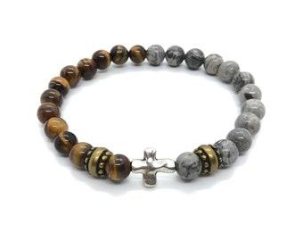 XANNA STONE Bracelet (36)/piedras semi-precious/jasper Map & Tiger Eye/Elegant Casual