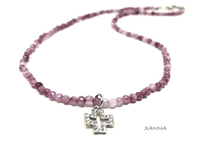 IVETTE Choker Necklace 05 /Semiprecious Stones/Agate/Silver Cross Pendant/Elegant Casual Boho Chic