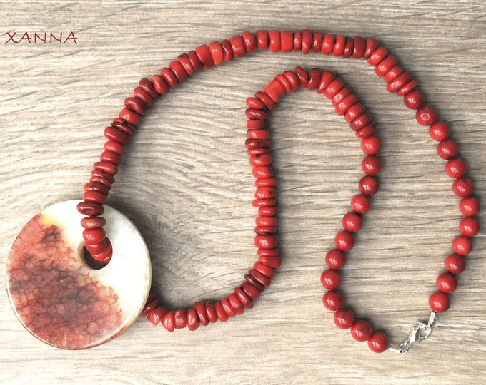 Semi-precious/piedras ROUGE necklace/coral/Dragon Agate Pendant/Elegant Casual chic Boho
