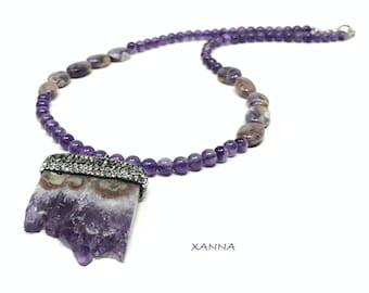 GEA2 Necklace /Semiprecious Stones/Amethyst/Amethyst Crystal Rock Pendant/Elegant Casual Boho Chic