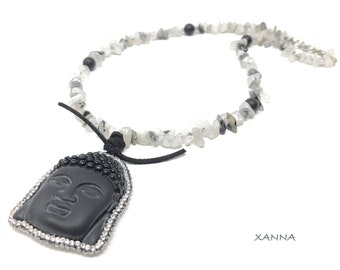 BUDA necklace /semiprecious stones/quartz with black tourmaline/onyx pavé buddha pendant /elegant casual boho chic