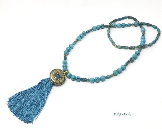 Tunisia/piedras semi-precious necklace/Blue agate/tassel/boho chic elegant Casual