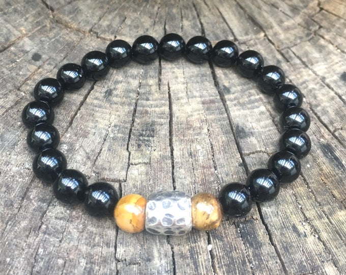 XANNA STONE Bracelet (07) semi-precious/piedras/Onyx & Tiger eye/Elegant Casual