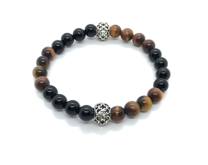XANNA STONE Bracelet (27) Semi-precious/piedras/Onyx and Tiger eye/elegant Casual