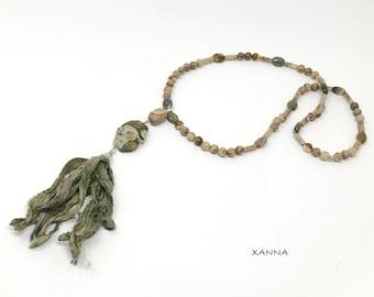 SARI NATURAL Necklace /Semiprecious Stones/Rhylite Jasper and Sari/Boho Chic Natural Silk Jasper/Natural Silk Tassel Elegant