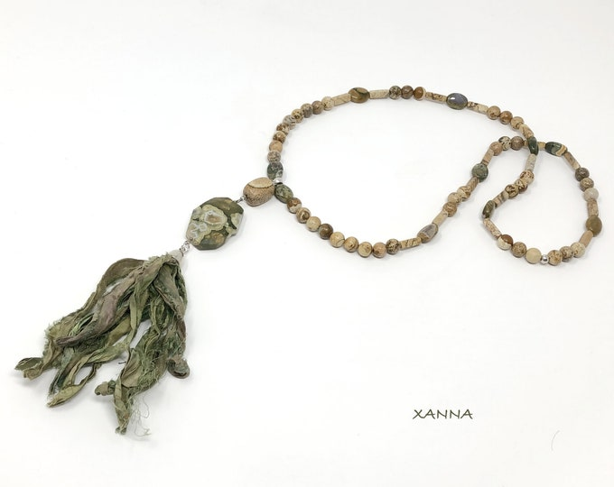 Natural semi-precious/piedras sari necklace/rhyolite jasper and wood jasper/natural silk tassel sari/Boho chic casual Elegant