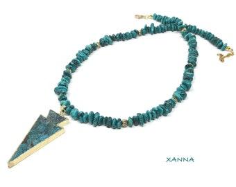 TAHITI necklace /semi-precious stones/turquenite/ocean jasper pendant/Boho chic casual elegant