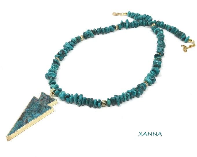 TAHITI/piedras semi-precious necklace/turquenite/ocean jasper pendant/Elegant chic casual Boho
