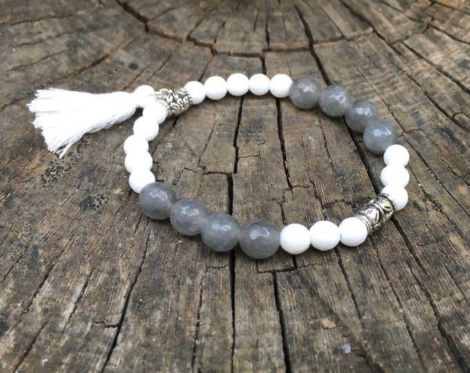 Semi-precious/piedras LADYBLACK bracelet/Grey-white agate/elegant boho chic casual