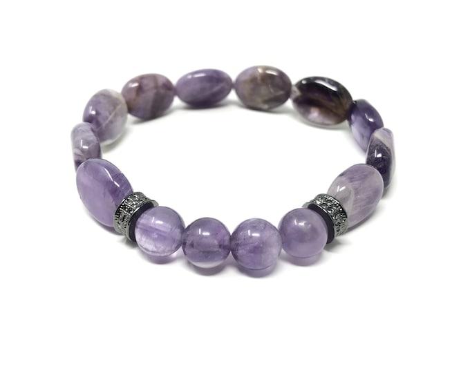 GEA1_P bracelet /semiprecious stones /amethyst/Boho chic elegant casual