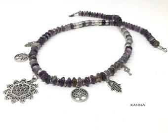 Semi-precious/piedras pomegranate necklace/Amethyst and fluorite/Silver metal pendants/Elegant chic casual Boho