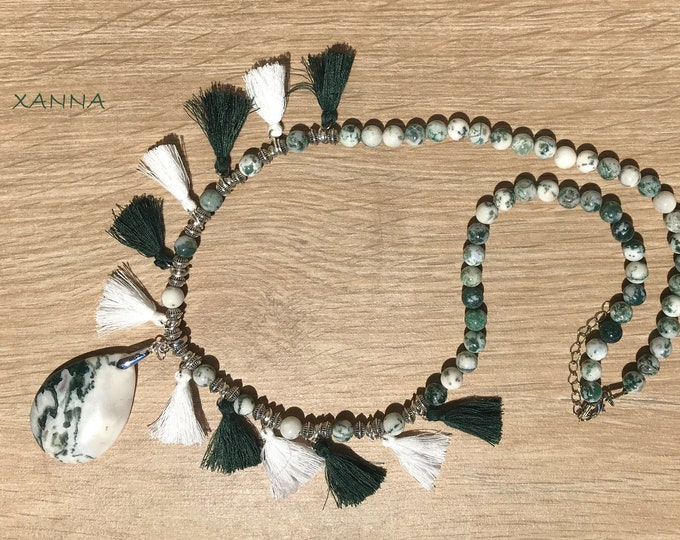 Semi-precious/piedras TUNDRA necklace/mossy agate with tassels/mossy agate pendant/Elegant Casual chic Boho