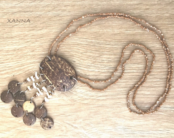 Chic & LOVE Double Collar (X) semi-precious/piedras/brown jasper/ethnic coconut wood pendant and nacre/Boho chic and elegant casual