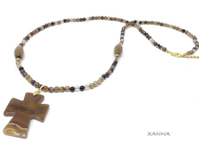 JERUSALEM necklace /semiprecious stones/agata/agate cross/elegant casual boho