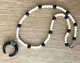 Chic & LOVE Trend Necklace (IV)/magnesita & Ònix/horn pendant/boho chic