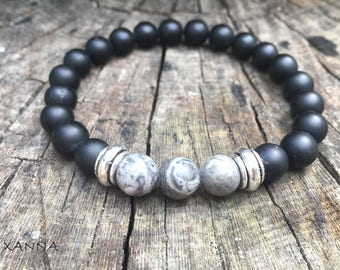XANNA STONE bracelet (04) / semiprecious/matt onyx stones and jasper map/casual elegant