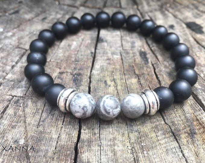 XANNA STONE Bracelet (04) semi-precious/piedras/Matt Onyx & Jasper Map/Casual Elegant