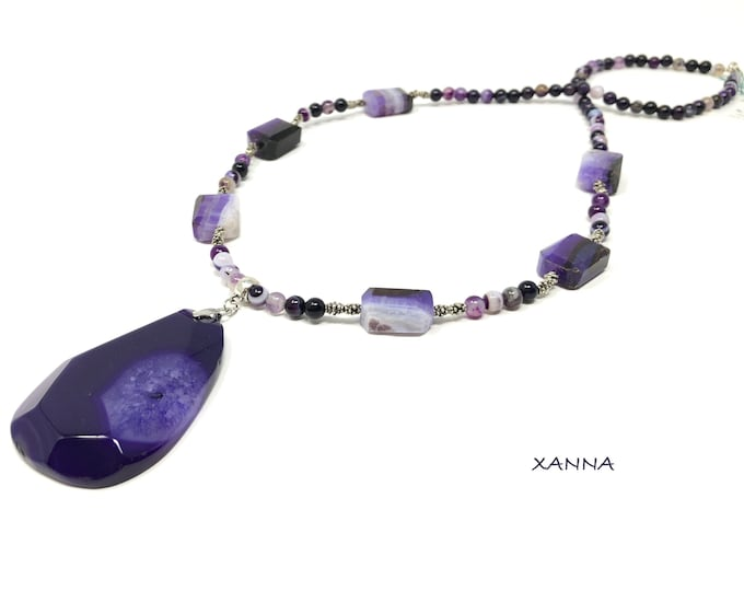 Necklace VÉRAN I/piedras semiprecious/Agate Lilac/Lilac agate pendant/boho chic, elegant and casual