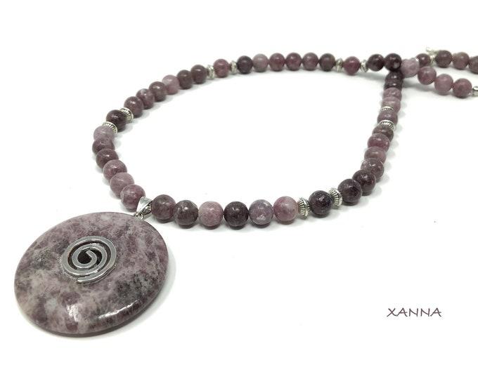 APRIL Necklace /Semiprecious Stones/Lepidolite/Donut Pendant Mica Lepidolita/Boho Chic Elegant Casual