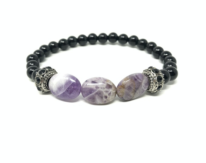 GEA3_P bracelet /semiprecious stones/onyx and amethyst/Boho chic elegant casual
