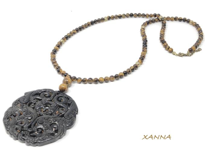 MAYLIN I necklace /semi-precious stones/tiger's eye/jade/boho chic oriental medallion, elegant and casual