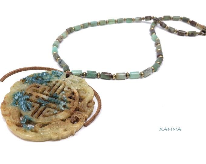 Collar MAYLIN V /piedras semipreciosas/crisopasa y jaspe madera/medallón oriental jade ocre verde/boho chic, elegante e informal