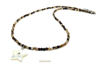 IVETTE 10 choker necklace /semiprecious stones/agate/mother-of-pearl star pendant/Boho chic elegant casual