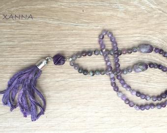 RITA necklace /semiprecious/fluorite stones and elegant amethyst/borla sari/Boho chic casual