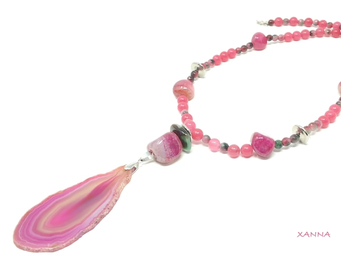 CANDY Necklace/piedras semiprecious/pink and green agates/pink agate pendant/boho chic, elegant and casual