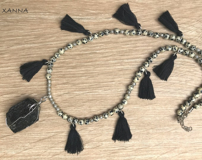Semi-precious/piedras PICS necklace/Dalmatian jasper and tassel/black tourmaline pendant/Boho chic, elegant and casual