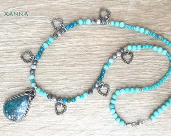 Collar BARNA /piedras semipreciosas/jaspe mapa y ágata/colgante crisocola/Boho chic informal elegante