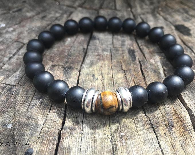 XANNA STONE Bracelet (02) semi-precious/piedras/matte onyx and Tiger eye/elegant Casual