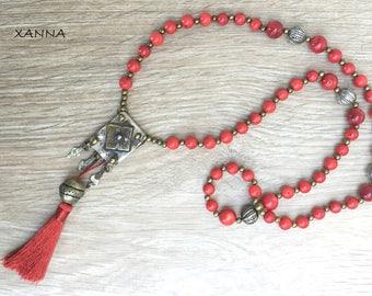 Semi-precious/piedras Talisman Necklace/coral/amulet Herz Berber/boho chic ethnic, hyppie, elegant, casual