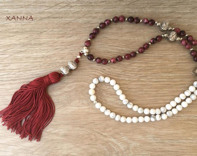 Necklace Sione/piedras semi-precious sesame and garnet jasper and white howlite/garnet tassel/Boho chic elegant Casual