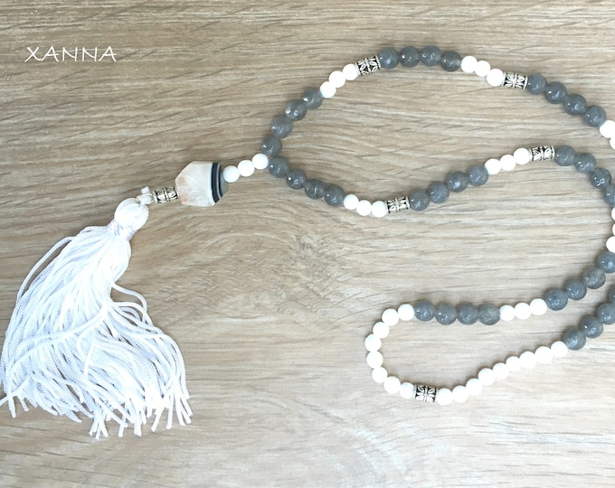 Semi-precious/piedras LADYBLACK necklace/Grey I white agate/tassel/boho chic, elegant and casual