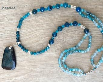 Semi-precious/piedras RAINDROPS double necklace/Blue agate/dark blue Dragon Agate Pendant/Boho chic elegant Casual