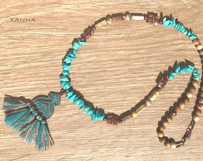 TUQUETA II choker necklace /semiprecious/turquoise stones and jasper wood/copper metal pendant with tassels/Boho chic elegant casual