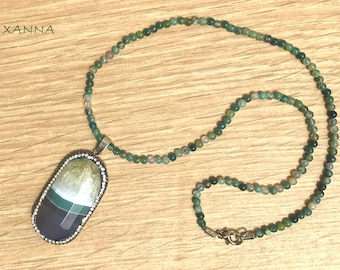 Chic & LOVE Short necklace (XII) semi-precious/piedras/mossy agate/grey agate Pendant-green-white & shiny/elegant Casual chic Boho