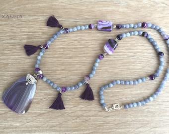 ASTER necklace /semi-precious stones/agate/agate pendant/Boho chic casual elegant