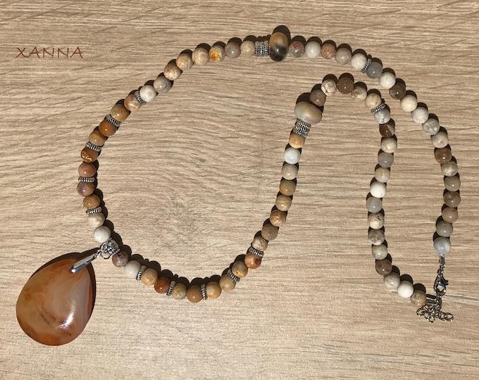 Collar KEMET /piedras semipreciosas/coral fósil agatizado y jaspe/colgante ágata/Boho chic informal elegante