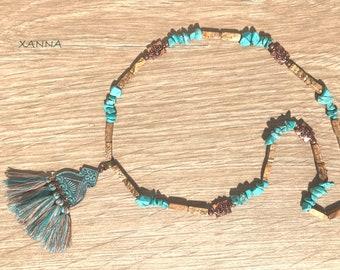 Necklace TURQUETA III Semi-precious/piedras/turquoise and wood jasper/copper pendant with tassels/Boho chic elegant Casual